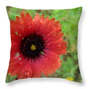 Wildflower Water Drops Throw Pillow