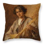 Wilhelm Amardus Beer, Portrait Of A Musician Boy Throw Pillow