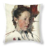 Wilhelm Leibl 1844 - 1900 German Bauernmadchen Farm Girl Throw Pillow