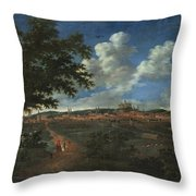 Wilhelm Von Bemmel A Panoramic View Of Nuremburg With Riders In The Foreground Throw Pillow