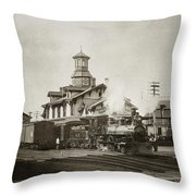 Wilkes Barre Pa. New Jersey Central Train Station Early 1900's Throw Pillow
