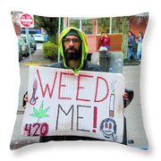 Will Work 4 Weed Throw Pillow