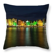 Willemstad And Queen Emma Bridge At Night Throw Pillow