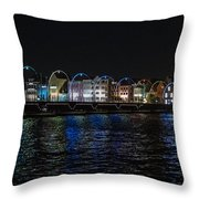 Willemstad Curacao At Night Throw Pillow