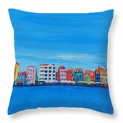 Willemstad Curacao Waterfront In Blue Throw Pillow