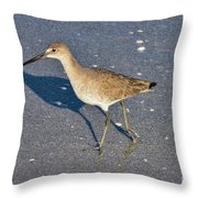 Willet And Shadow Throw Pillow