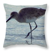 Willet In The Surf Throw Pillow