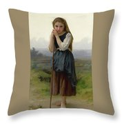 William Bouguereau 1825-1905 French Petite Bergere Throw Pillow