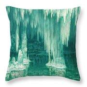 William Degouve De Nuncques 1867 - 1935 Belgian La Grotte Du Drac, Manacor Throw Pillow