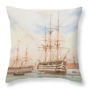 William Edward Atkins H.m.s. Victory And H.m.s. Duke Of Wellington In Portsmouth Harbour With An Ind Throw Pillow