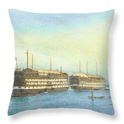 William Frederick Mitchell , H.m.s. Excellent And H.m.s. Calcutta In Portsmouth Harbour, 1897 Throw Pillow