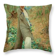 William Henry Margetson, Woman In A Spring Landscape. Throw Pillow