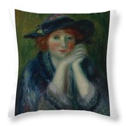 William J. Glackens 1870-1938 1870 - 1938 Portrait Study Of An Artist's Model Throw Pillow