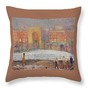 William James Glackens American, 1870-1938 Street Cleaners Throw Pillow