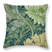 William Morris Wallpaper Sample With Chrysanthemum Throw Pillow