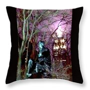 William Seward Statue And Empire State Bldg With Trees Throw Pillow