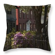 William Street In Bloom Throw Pillow