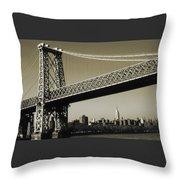 Old New York Photo - Williamsburg Bridge Throw Pillow