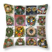 Williamsburg Christmas Collage Squared 3 Throw Pillow
