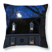 Williamsburg House In Moonlight Throw Pillow