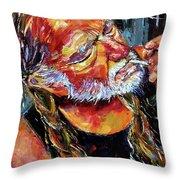 Willie Nelson Booger Red Throw Pillow by Debra Hurd