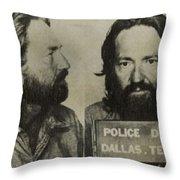 Willie Nelson Mug Shot Horizontal Sepia Throw Pillow