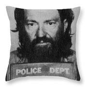 Willie Nelson Mug Shot Vertical Black And White Throw Pillow