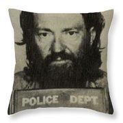 Willie Nelson Mug Shot Vertical Sepia Throw Pillow