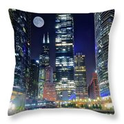 Willis Tower And Moon Throw Pillow