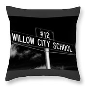 Willow City School Sign Throw Pillow