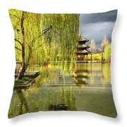 Willow Tree In Liiang China II Throw Pillow