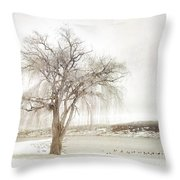 Willow Tree In Winter Throw Pillow