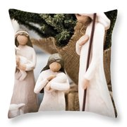 Willow Tree Nativity At Christmas Throw Pillow