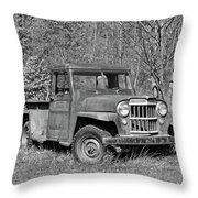 Willys Jeep Pickup Truck Monochrome Throw Pillow
