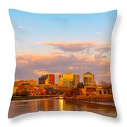 Wilmington Skyline At Sunset Throw Pillow
