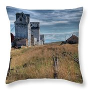 Wilsall Grain Elevators Throw Pillow