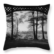 Wilson Pond Framed In Black And White Throw Pillow