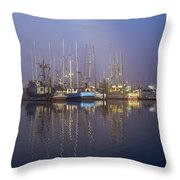 Winchester Bay Fishing Boats Throw Pillow