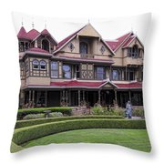Winchester Mystery House Throw Pillow by Daniel Hagerman