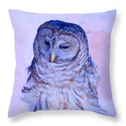 Wind Blown Owl  Throw Pillow