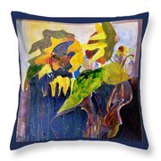 Wind Blown Sunflowers Throw Pillow