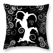 Wind Dancing - White On Black Silhouettes Throw Pillow