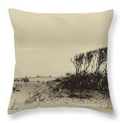 Wind Grown Beach Trees Throw Pillow
