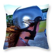 Wind In The Hair Throw Pillow