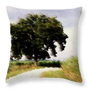 Wind Motif Old Dam Road Throw Pillow
