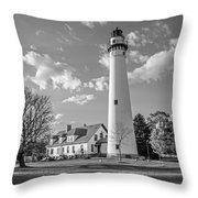 Wind Point Lighthouse And  Old Coast Guard Keepers Quarters  3 Throw Pillow