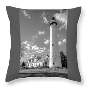 Wind Point Lighthouse And  Old Coast Guard Keepers Quarters.   Black And White Throw Pillow