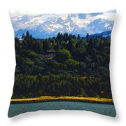 Wind Surfing Mt. Hood Throw Pillow