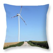 Wind Turbine On Field With Country Road Throw Pillow