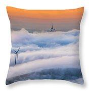 Wind Turbines At Sunrise Throw Pillow
